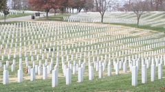 Wide Shot Tombstones in National Cemetery Stock Footage