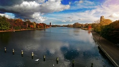 Lake in Hyde Park, London in autumn at sunset.Beautiful landscape. Stock Footage