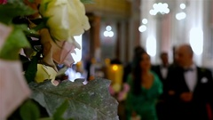 Unrecognizable people on a wedding ceremony in a church Stock Footage