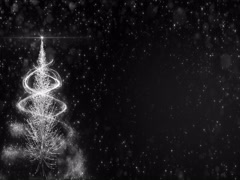 Animated White Christmas Fir Tree Star background bokeh snowfall 4k resolution Stock Footage