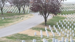 Panning of Graves in National Cemetery Stock Footage