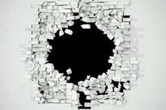 Destruction of a white brick wall for pasting anything text. 3d illustration Stock Illustration