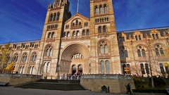 Facade os the Naturall History museum on a sunny day. Stock Footage