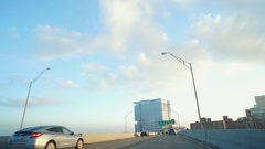 CLEVELAND -  DOWNTOWN DRIVING SHOT APPROACHING CITY FROM WEST Stock Footage