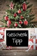Nostalgic Christmas Tree With Geschenk Tipp Means Gift Tip Kuvituskuvat