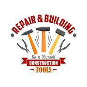 Repair, building, construction tools vector sign Stock Illustration