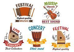 Musical instrumetns icons for festival, concert Stock Illustration