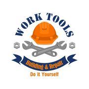 Work tools vector emblem. Repair, building sign Stock Illustration