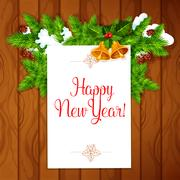 New Year best wishes vector poster Stock Illustration
