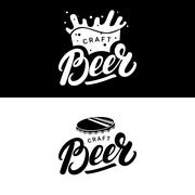 Set of beer hand written lettering logos, labels, badges for beerhouse, brewing Piirros