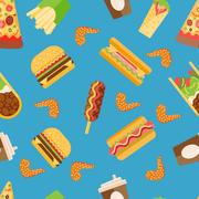 Vector fast food seamless pattern Stock Illustration