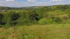 Aerial Flight Over Fly Ukraine Fields Trees Beauty Nature Stock Footage