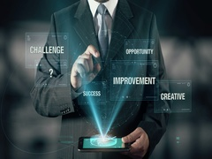 Businessman with Innovation Improvement Creative Challenge Opportunity Stock Footage