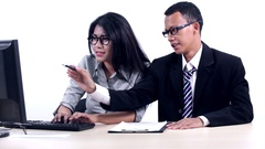 Asian workers working with computer Stock Footage