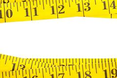 Yellow measurement tape border Stock Photos