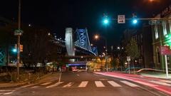 Timelapse of Benjamin Franklin Bridge in Philadelphia Stock Footage