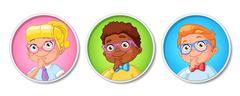 Vector set of smart school kids in glasses Stock Illustration