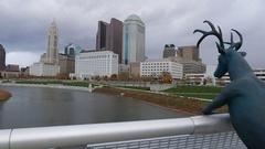 Columbus Ohio Scioto River Deer Statue Skyline Stock Footage