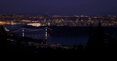 Vancouver City Landscape at Night Stock Footage