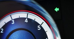 Turn Signal Flashing on Car Dashboard Stock Footage