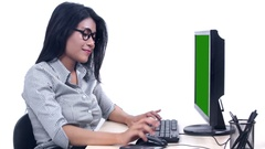 Woman working with computer and thinks idea Stock Footage