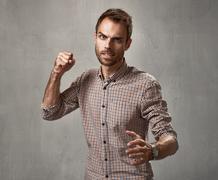 Aggressive man. Stock Photos