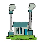 Drawn industrial factory buiding pollution symbol Stock Illustration