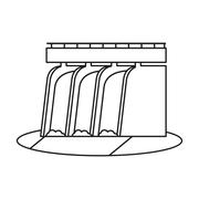 Hydroelectric station plant water dam pictograph Stock Illustration