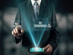 Businessman with Success Do Today from Do Yesterday Do Tomorrow Stock Footage