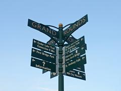 Directional Sign at the Stone Arch Bridge in Minneapolis Stock Photos