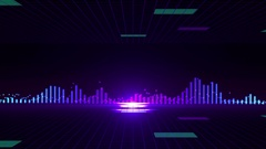 Abstract animation of sound wave equalizer with zooming background pattern Stock Footage