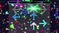 Animation arrows symbol moving up the screen in dancing game background concept Stock Footage