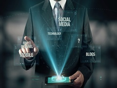Businessman with Digital Marketing Social Media Blogs Mobile Channel Technology Stock Footage