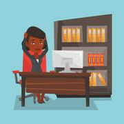 Tired employee working in office Stock Illustration