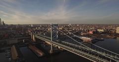 Aerial Drone Footage of Benjamin Franklin Bridge in Philadelphia Stock Footage