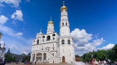Ivan the Great belltower with blue sky and clouds in Moscow, Russia Stock Footage