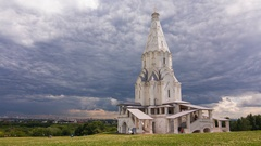Unreal clouds over the Kolomenskoye Cathedral in Moscow, Russia Stock Footage