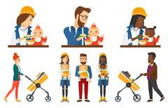 Vector set of maternity and parenthood Stock Illustration