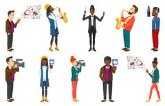 Vector set of media people and musicians Stock Illustration