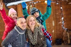 Portrait of family enjoying on vacation- Christmas holiday. Kuvituskuvat