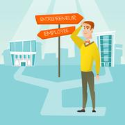 Confused man choosing career pathway Stock Illustration