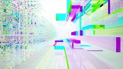 Abstract interior of colored glass blocks. Stock Footage