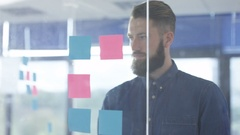 4K Close up portrait businessman brainstorming with sticky notes in office Arkistovideo