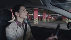 Mature Woman Parking Car Stock Footage