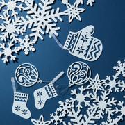 Postcard with snowflakes Stock Photos
