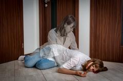 Soul leaves the body after the woman's death caused by murder or accident Stock Photos