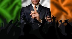 Irish candidate speaks to the people crowd Stock Photos