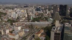 Flying above white Aqueduct landmark,Rio de Janeiro,Brazil Stock Footage