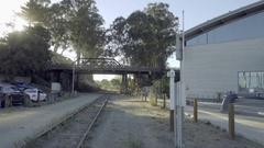 Zooming in on train tracks in Santa Cruz Northern California Stock Footage