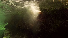 Underwater wave turbulence created by bubbles in slow motion Stock Footage